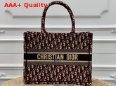 Dior Small Book Tote Bag in Burgundy Embroidered Dior Oblique Canvas Replica