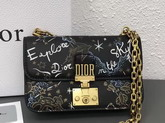 Dior Small Dioraddict Flap Bag in Hand Painted Smooth Black Lambskin For Sale