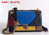 Dior Small Diorama Bag in Multi Coloured Patchwork Leather with Studded Cannage Motif Replica
