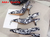Dior Sweet D High Heeled Shoe in Toile De Jouy Canvas Off White and Black Replica