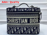 Dior Vanity Case in Blue Dior Oblique Embroidered Canvas Replica