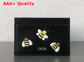 Dior X Kaws Black Card Holder with Yellow Bees Replica