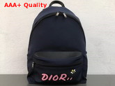 Dior X Kaws Rider Backpack in Navy Blue Nylon with Pink Dior Logo Replica