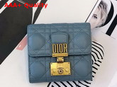 Dioraddict Mini Wallet in Blue Cannage Lambskin Replica