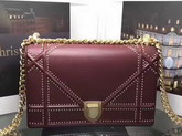 Diorama Bag in Bordeaux Studded Lambskin For Sale