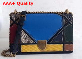 Diorama Bag in Multi Coloured Patchwork Leather with Studded Large Cannage Motif Replica