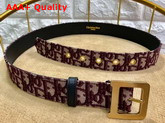 Diorquake Dior Oblique Belt in Burgundy Dior Oblique Jacquard Canvas Replica