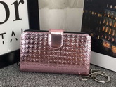 Lady Dior Eden Wallet in Pink Micro Cannage Metallic Calfskin for Sale