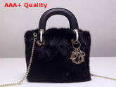Mini Lady Dior Mink Fur Bag in Black Replica