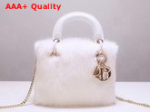 Mini Lady Dior Mink Fur Bag in White Replica