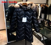 Moncler Womens Long Down Jacket in Black Replica