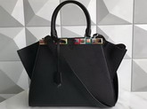 Fendi 3Jours Black Leather Shopper Bag with Studs For Sale