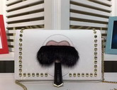Fendi Karlito Wallet On Chain in White Leather with Inlays For Sale