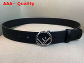 Fendi Leather Belt in Black Calf Leather with Round Buckle Replica