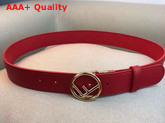 Fendi Leather Belt in Red Calf Leather with Round Buckle Replica