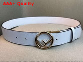 Fendi Leather Belt in White Calf Leather with Round Buckle Replica