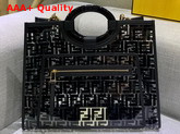 Fendi Medium Runaway Shopper PU FF Motif Printed in Black Replica