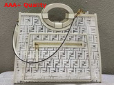 Fendi Medium Runaway Shopper PU FF Motif Printed in White Replica