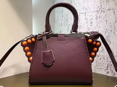 Fendi Mini 3Jours in Oxblood Leather with Studs For Sale