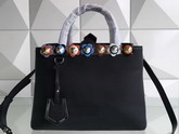 Fendi Petite 2Jours Shopper Bag in Black Leather with Flowers For Sale