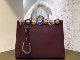 Fendi Petite 2Jours Shopper Bag in Burgundy Leather with Flowers For Sale