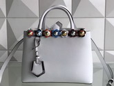 Fendi Petite 2Jours Shopper Bag in White Leather with Flowers For Sale