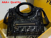 Fendi Runaway Shopper PU FF Motif Printed in Black Replica