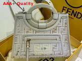 Fendi Runaway Shopper PU FF Motif Printed in White Replica