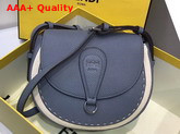 Fendi Saddle Shoulder Bag with Rounded Flap and Magnetic Fastening Pale Blue Calf Leather Replica