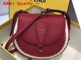 Fendi Saddle Shoulder Bag with Rounded Flap and Magnetic Fastening Red Calf Leather Replica