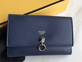Fendi Slim Continental Wallet in Midnight Blue Leather with Raw Edges For Sale