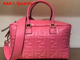 Fendi Small Boston Bag in Pink Lambskin with an All Over FF Motif Replica