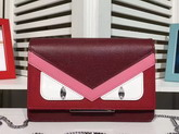 Fendi Wallet On Chain in Bordeaux Leather with Inlays For Sale