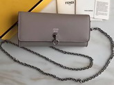 Fendi Wallet On Chain in Dove Grey Calfskin For Sale