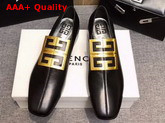 Givenchy 4G Loafers in Black Grained Leather with Gold Metal 4G Emblem Replica