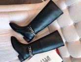 Givenchy Chain Leather Boots Riding Boots in Smooth Black Maremma Leather with Metal Chain on The Back of The Heel For Sale