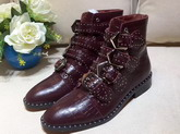 Givenchy Elegant Studs Ankle Boots in Bordeaux Croc Print Calfskin Leather For Sale