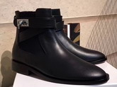 Givenchy Shark Lock Flat Ankle Boots in Smooth Black Maremma Leather with Crossover Straps For Sale