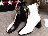 Givenchy Two Tone 4G Ankle Boots in Black and White Grained Leather Replica