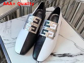Givenchy Two Tone 4G Loafers Black and White Grained Leather with Silver Metal 4G Emblem Replica