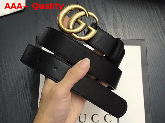 Gucci Black Leather Belt with Double G Buckle Replica