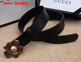 Gucci Black Leather Belt with Metal Flower Replica