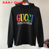 Gucci Cities Hooded Sweatshirt in Black Cotton Replica