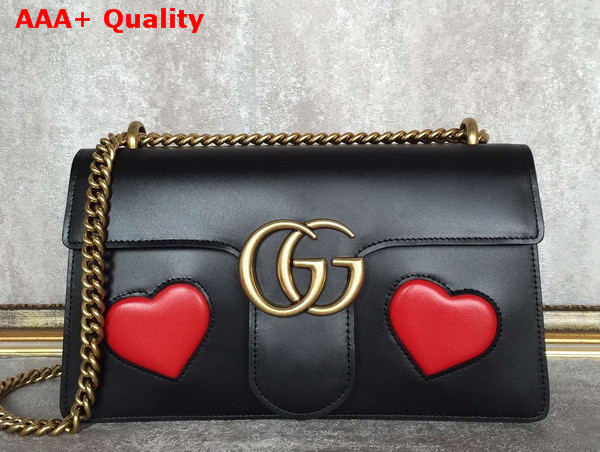 2da28770df2 Gucci GG Marmont Leather Shoulder Bag in Black with Embedded Red Hearts  Replica
