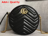 Gucci GG Marmont Mini Round Shoulder Bag Black Matelasse Chevron Leather with Heart Replica 550154