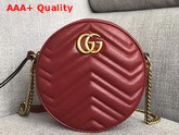 Gucci GG Marmont Mini Round Shoulder Bag Hibiscus Red Matelasse Chevron Leather with Heart Replica 550154