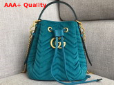 Gucci GG Marmont Quilted Velvet Bucket Bag in Petrol Blue Replica
