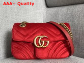 Gucci GG Marmont Velvet Mini Bag in Hibiscus Red Velvet Replica