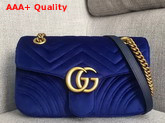 Gucci GG Marmont Velvet Shoulder Bag in Cobalt Blue Velvet Replica