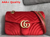 Gucci GG Marmont Velvet Shoulder Bag in Hibiscus Red Velvet Replica